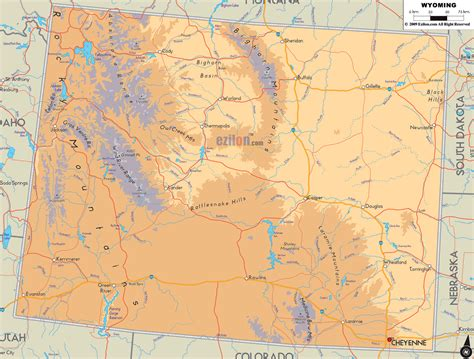 wyoming map physical map of wyoming ezilon maps