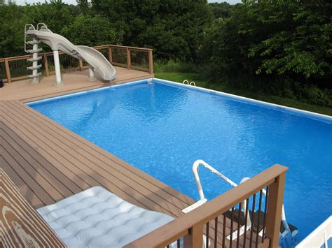 swimming pool decking above ground pool custom decks