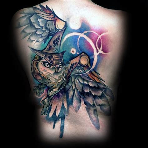 flying owl tattoo design 40 owl back tattoo designs for men cool bird ink ideas