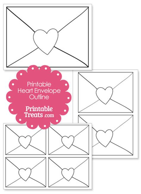 printable heart envelope printable heart envelope outline printable treats com