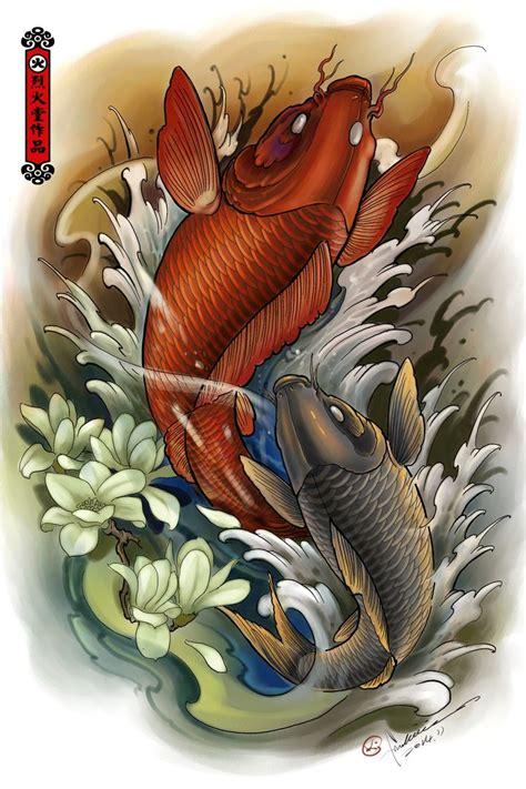 tattoo pez koi naranja carp artwork by hailin fu www facebook com instagram