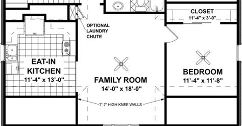 level floor plan of garage plan 7124 eat in kitchen