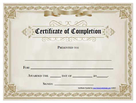 free printable certificate of completion template 18 free certificate of completion templates utemplates