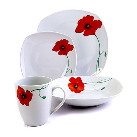 gallery poppy 16pc dinnerware set boscov s