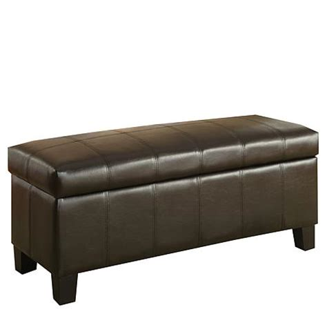 faux leather bench home origin dark brown faux leather functional bench