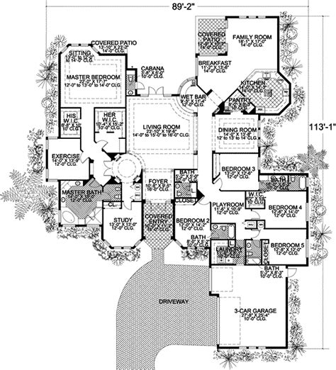 5 bedroom floor plans 1 story florida style house plans 5131 square foot home 1 story 5 bedroom and 4 bath 3 garage