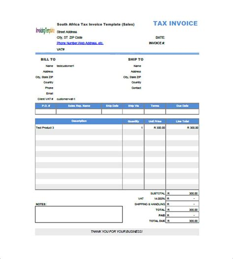 invoice template with value added tax 14 free word