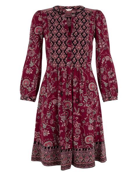 Monsoons Ria Print Dress by Tessa Print Dress Purple Monsoon Boho