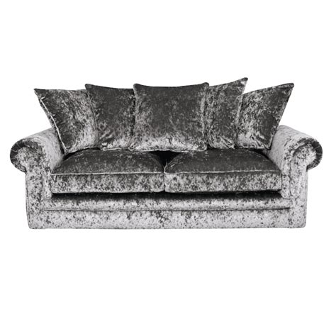 charlotte chesterfield 3 seater crushed velvet sofa in silver