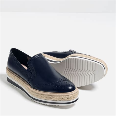 zara shoes for zara flat platform shoes in blue for lyst
