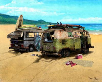 volkswagen van art two vw vans automotive automobilia print poster painting