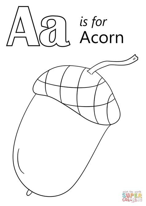 acorn coloring pages letter a is for acorn coloring page free printable