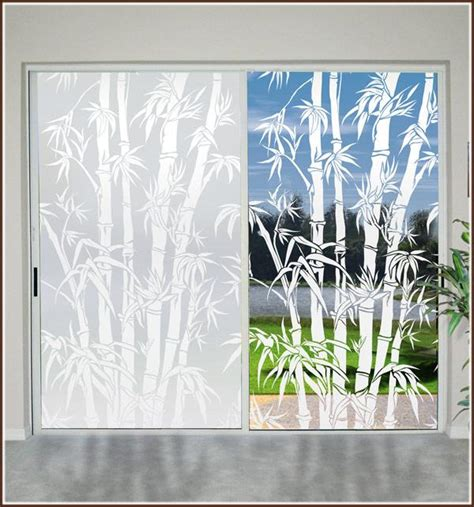 Big Bamboo Etched Glass Privacy Decorative Static Cling Decorative Privacy Door Glass Cling