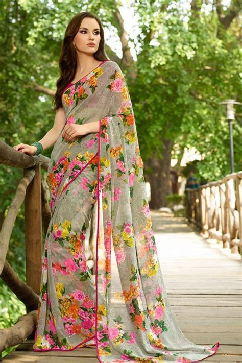 Floral Print Blouse Material For Saree by Appealing Grey Georgette Floral Print Saree Georgette