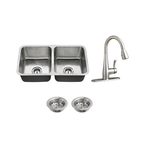 American Standard Stainless Steel Kitchen Sink American Standard All In One Undermount Stainless Steel 32 In 50 50 Bowl Kitchen Sink