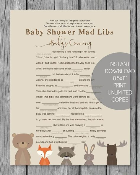 Mad Libs Baby Shower Printable by 619 Best Printable Baby Shower Ideas Images On