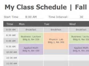 open office schedule template class schedule