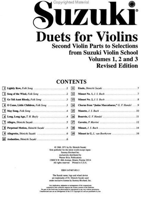 Suzuki Duets For Violins Pdf Duets For Violins Sheet By Suzuki Shinichi Warner