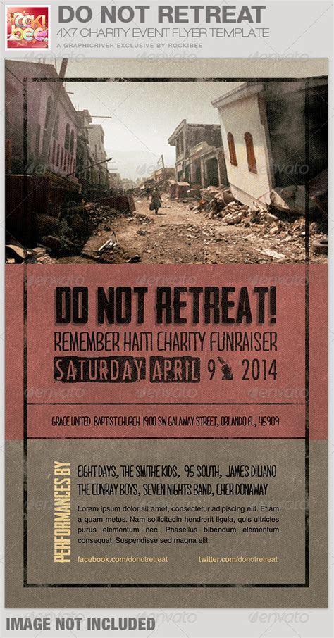 Do Not Retreat Charity Event Flyer Template Graphicriver Church Event Flyer Templates
