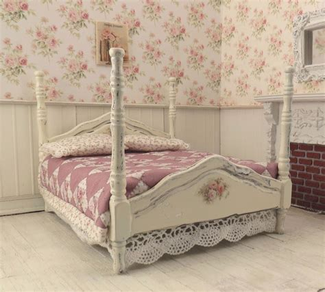 dollhouse miniature shabby chic dressed 4 poster bed pink mauve patchwork quilt ebay