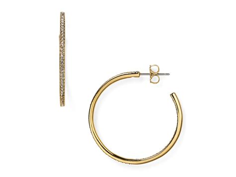 Allen Dons Gold Ribbed Hoop Earrings A La Hilary Duff by Nadri Pav 233 Hoop Earrings In Gold Lyst