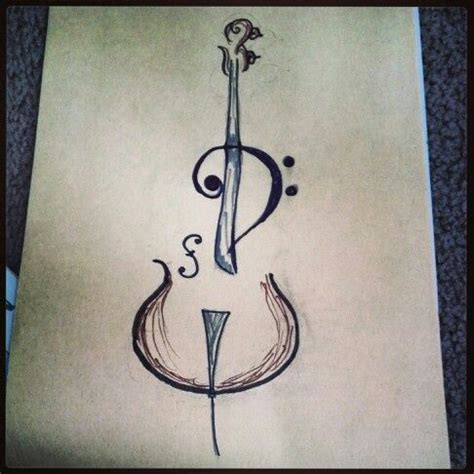 simple violin tattoo my next tattoo cello bass clef line drawing kicked up a