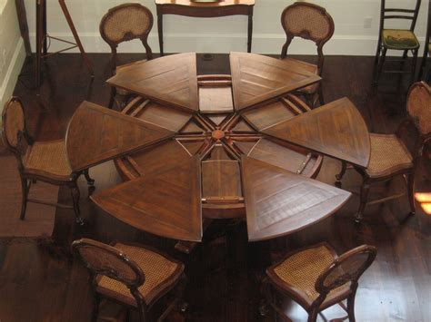 Expandable Round Dining Room Table | 80 quot to 100 quot round expandable dining table solid walnut