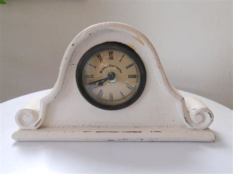wood clock mantle shabby chic cottage white by luluandgandore