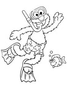 Elmo Goes Snorkeling In Summer Season Coloring Page sketch template