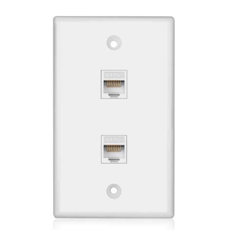 ethernet network cate wall plate dual  rj keystone