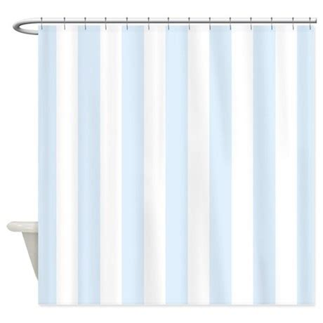 Light Blue And White Stripes Shower Curtain By