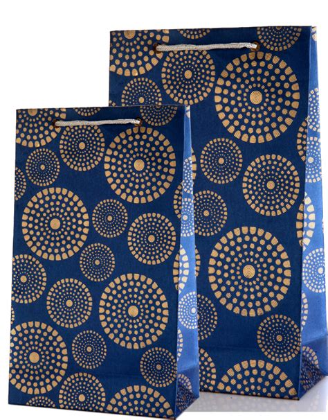 Wedding Gift Design by Royal Blue Gift Bags Combo With Golden Circles Design