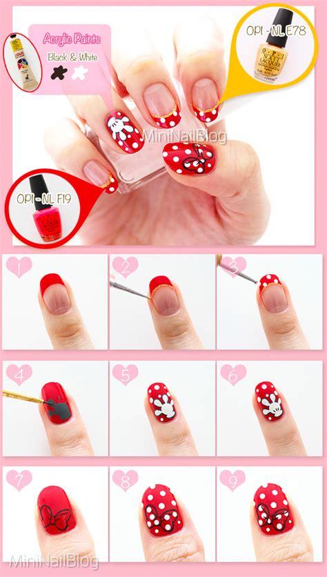 Tutorial Nail Art Minnie   minnie mouse nail art nailbees