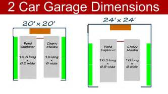 ideal 2 car garage dimensions