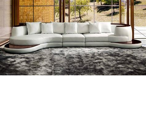 Leather Sofa With Wood Trim Dreamfurniture Divani Casa Rodus Rounded Corner Leather Sectional Sofa With Wood Trim