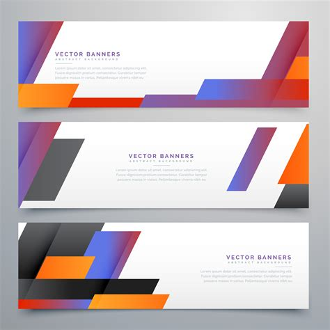 colorful geometric banners set background   vector art stock graphics images