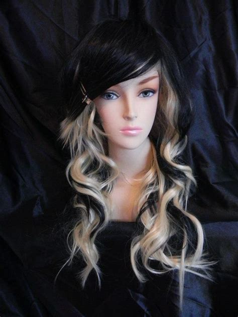 Black At The Bottom And Blonde At The Top Short Hair | on sale raven blonde and black long wavy layered by