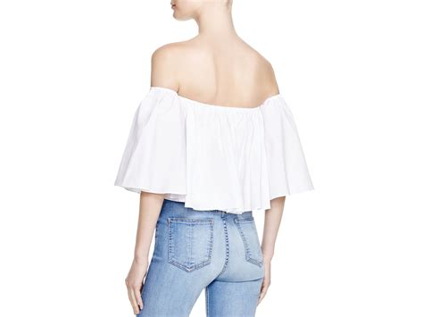 The Shoulder Ruffle Top lyst n nicholas shoulder ruffle top in white