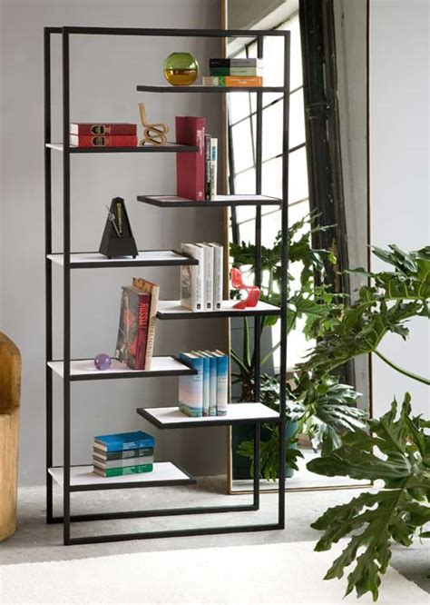 minimalist bookshelves minimalist steel bookcases with corian or bamboo shelves by faktura digsdigs