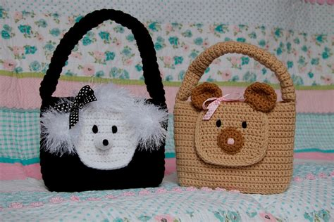 crochet animal bag pattern girl purse pdf crochet pattern easy animal bear and poodle