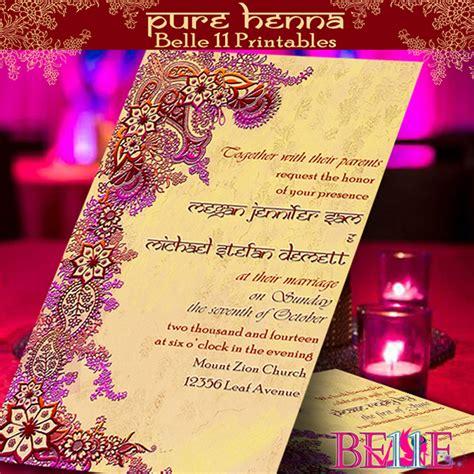 printable indian wedding invitation cards printable invitation henna bollywood indian theme on behance