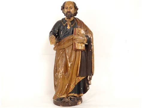 Pictures Of Painted Fireplaces by Sculpture Statue Bois Polychrome Saint Pierre Bible 233 Glise