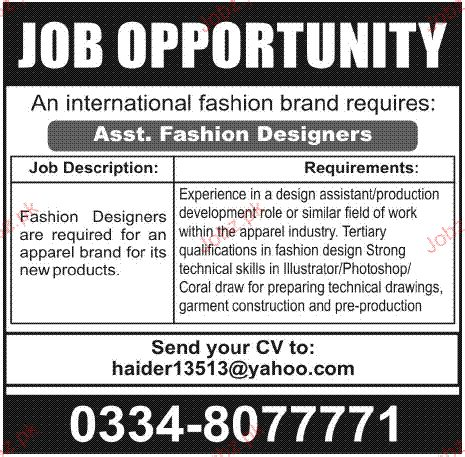 fashion design assistant jobs assistant fashion designers job opportunity 2018 jobs pakistan