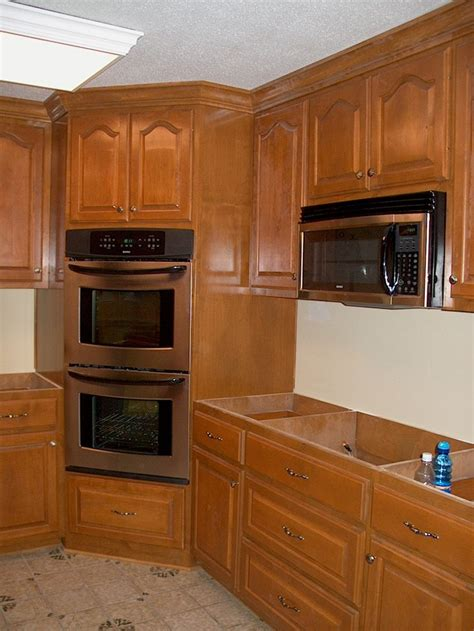 kitchen cabinet corners corner oven leave microwave where it is put drop in