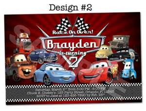 disney pixar cars photo birthday party invitations
