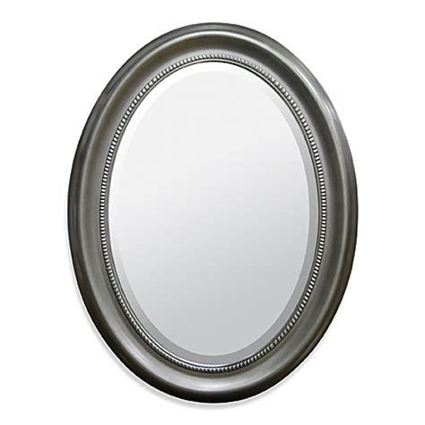 loree brushed nickel finish oval wall mirror oval brushed nickel wall mirror bed bath beyond