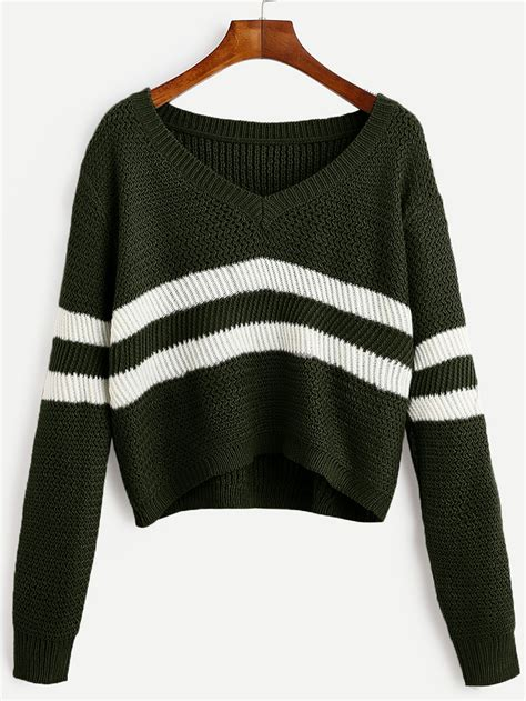 Neck Striped Sweater green striped v neck crop sweaterfor romwe