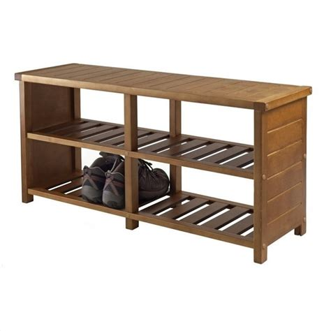 bench with shoe rack winsome keystone bench teak finish shoe rack ebay