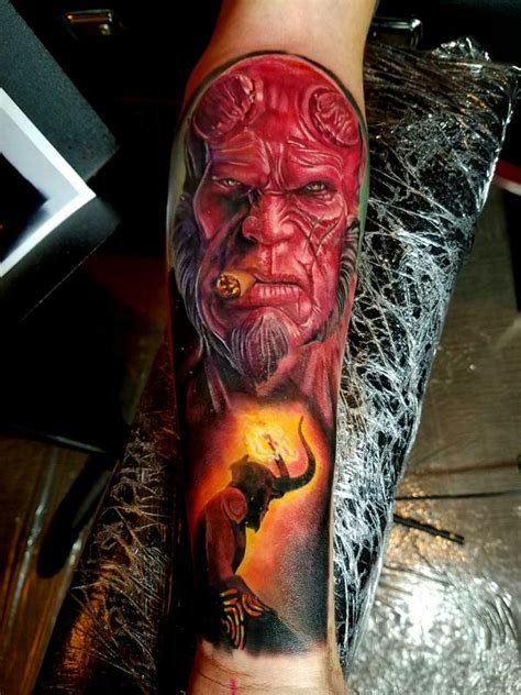 hellboy tattoo hellboy by justin buduo tattoonow