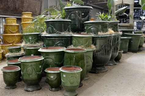 Green Planters by Green Glaze Anduze Vases